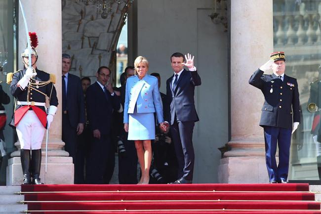 Emmanuel Macron et Brigitte Macron à l'Elysée